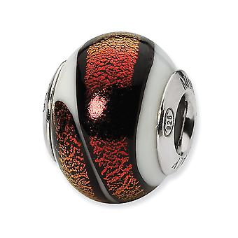 925 Sterling Silver Italian Murano Glass Reflections White Red Italian Murano Bead Charm Pendant Necklace Jewelry Gifts