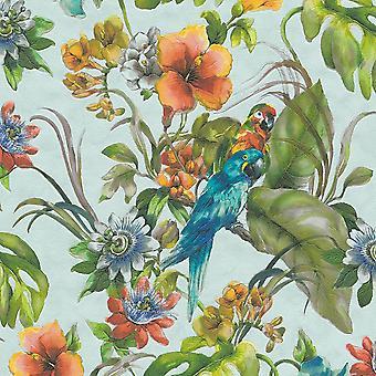 Tropiske papegøjer tapet fugle blomstret grøn blå orange akvarel vinyl