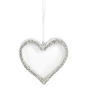 Single 5.5cm Clear Heart with Double Faced Diamante Edges Christmas Tree Ornament