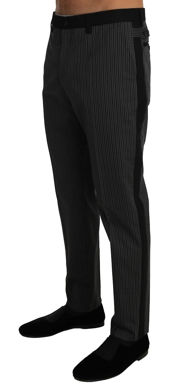 Gray Cotton Wool Striped Stretch Trousers Pants