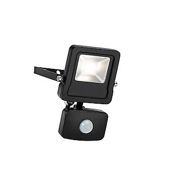 Saxby Lighting Surge Pir integrado LED PIR luz de inundación de pared al aire libre mate negro, vidrio IP44 78963