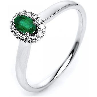 Gemstone Ring Diamonds 0.13ct. Emerald 0.26 ct. Size 54