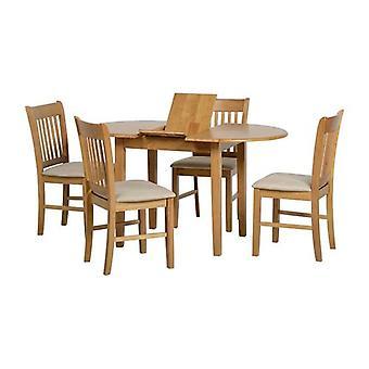 Oxford Extending Dining Set - Natural Oak/mink Microsuede