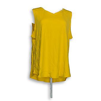 Isaac Mizrahi Live! Kvinner ' s Top Essentials Shirttail hem gul A286119