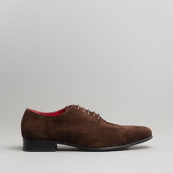 Rossellini Mario Mens Faux Suede Oxford Shoes Brown