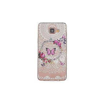 Galaxy A5 Hull (2016) Transparent Flexible Pattern Flowers And Colored Butterflies - Crazy Kase