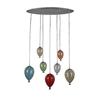 7 Light Oval Balloon Cluster Pendant Multi-coloured
