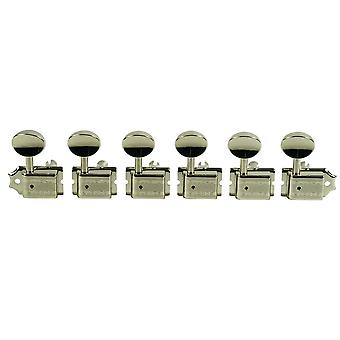 Kluson Traditional 6 In Line Tuners With Double Line Stamp Nickel Finish