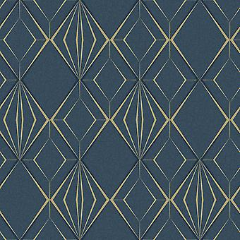 Antares Diamant Geo Wallpaper Marine / Gold Holden 35901