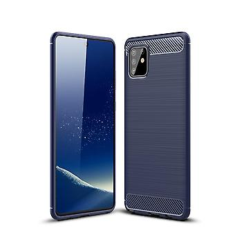 Samsung Galaxy A81 TPU Case Carbon Fiber Optik Brushed Schutz Hülle Blau