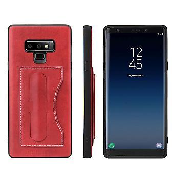 Voor Samsung Galaxy Note 9 Case Luxe Lederen Telefoon Cover Gebouwd in Kickstand, Red