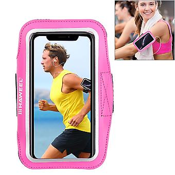 For Samsung S10 PLUS & iPhone XS MAX Case Magenta PVC Leather Sports Armband