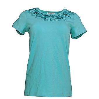 Isaac Mizrahi Live! Frauen's Top XXS Floral Cut-Out stricken T-shirt blau A220520