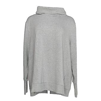 Anybody Women's Plus Top Plush Terry Cowl-Neck Gray A345169