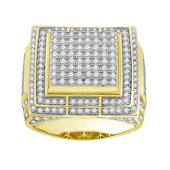925 Sterling Silver Yellow tone CZ Cubic Zirconia Simulated Diamond Cluster Mens Fashion Ring Jewelry Gifts for Men - Ri