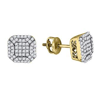 925 Sterling Silver Mens Yellow tone CZ Cubic Zirconia Simulated Diamond Square With Round Edges Stud Earrings Jewelry G