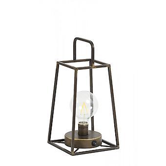 Lâmpada leve e viva lanterna LED 15x15x30,5cm Fauve Tin Brass and Lamp
