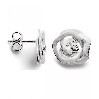 bastian inverun - 925/- silver studs scratch matt, diamond 0.020ct - 24100