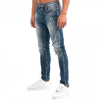 Kings Will Dream Dayton Carrot Skinny Stretch Blue Denim Rip & Paint Jeans