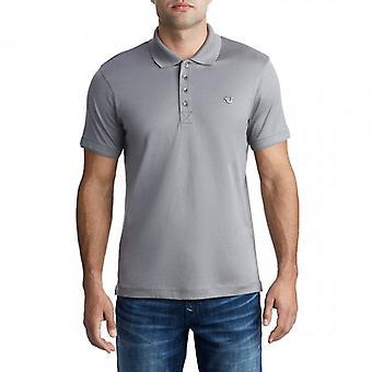 Wahre Religion Metall Logo Polo T-Shirt Kohle grau 101296