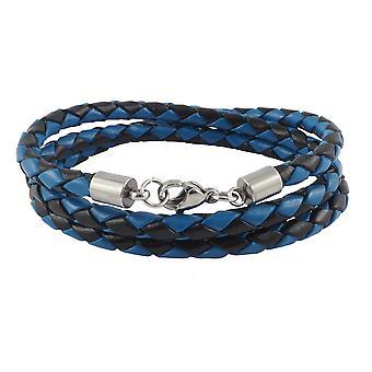 Lederen ketting lederen koord 4 mm heren ketting zwart / blauw 17-100 cm lang met karabijn sluiting zilver gevlochten