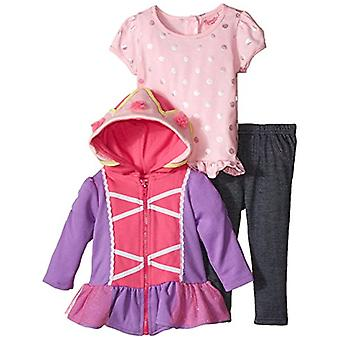 Nannette Baby Girls' 3 Piece French Terry Jacket Set with Creeper, Pink, 12 M...