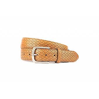 Bella Cognac BraidLook Cintura Con Old-Look Silver Buckle
