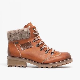 Rieker Z0444-24 damas con cordones forrados cálidos botines marrones