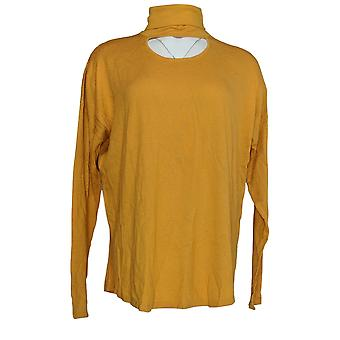 Peace Love World Women's Sweater Banded Neck Gold Yellow A297786