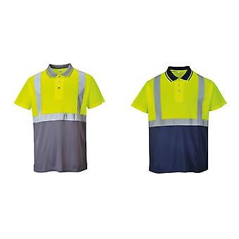 Portwest Mens Short Sleeve Two-Tone Hi-Vis Polo Shirt