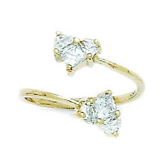 14k Yellow Gold CZ Cubic Zirconia Simulated Diamond Top Adjustable Love Heart Body Jewelry Toe Ring Jewelry Gifts for Wo