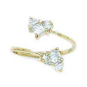 14k Amarelo Ouro CZ Zirconia Cúbica Simulado Diamante Top Ajustável Amor Coração Coração Jóias Anel Anel Jóias para Wo