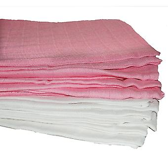 10 x Pink and White Muslin Squares Bibs Baby Muslins Cloths Nappy Inserts 70 x 70 100% cotton