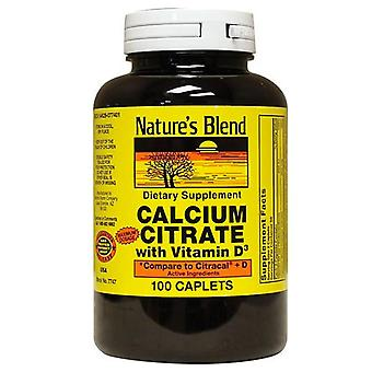 Nature's blend calcium citrate with vitamin d3, caplets, 100 ea