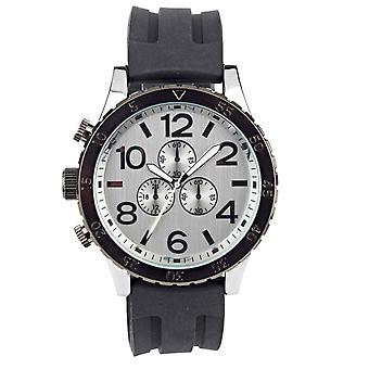 Eton Mens Zwart Siliconen band horloge, Mock Chrono Wijzerplaat, Zaak: 48mm - 3270J-BK