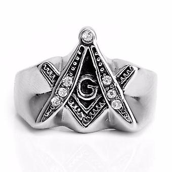 Extrude compass & square freemason ring