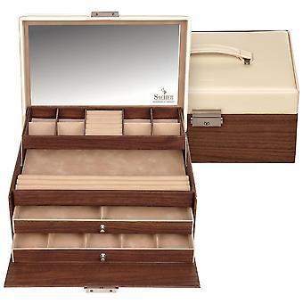 Sacher sieraden geval sieraden doos Scandinavische stijl beige hout-look kasteel spiegel