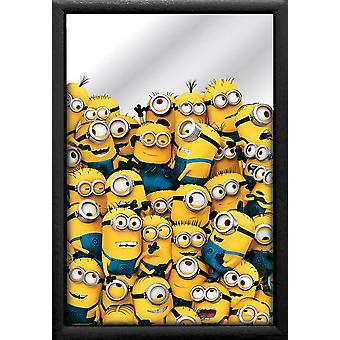 Despicable me printed 3 mirror of many minions, multi colored, with black plastic frame in wood.