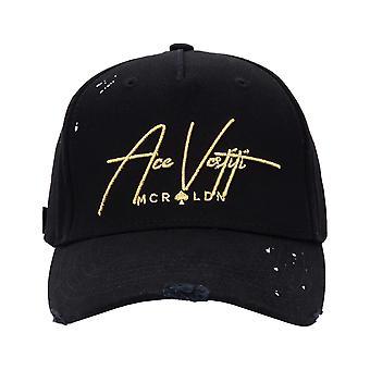 Ace Vestiti Distressed Paint Splatt Signature Baseball Cap - Metallic Gold-One Size