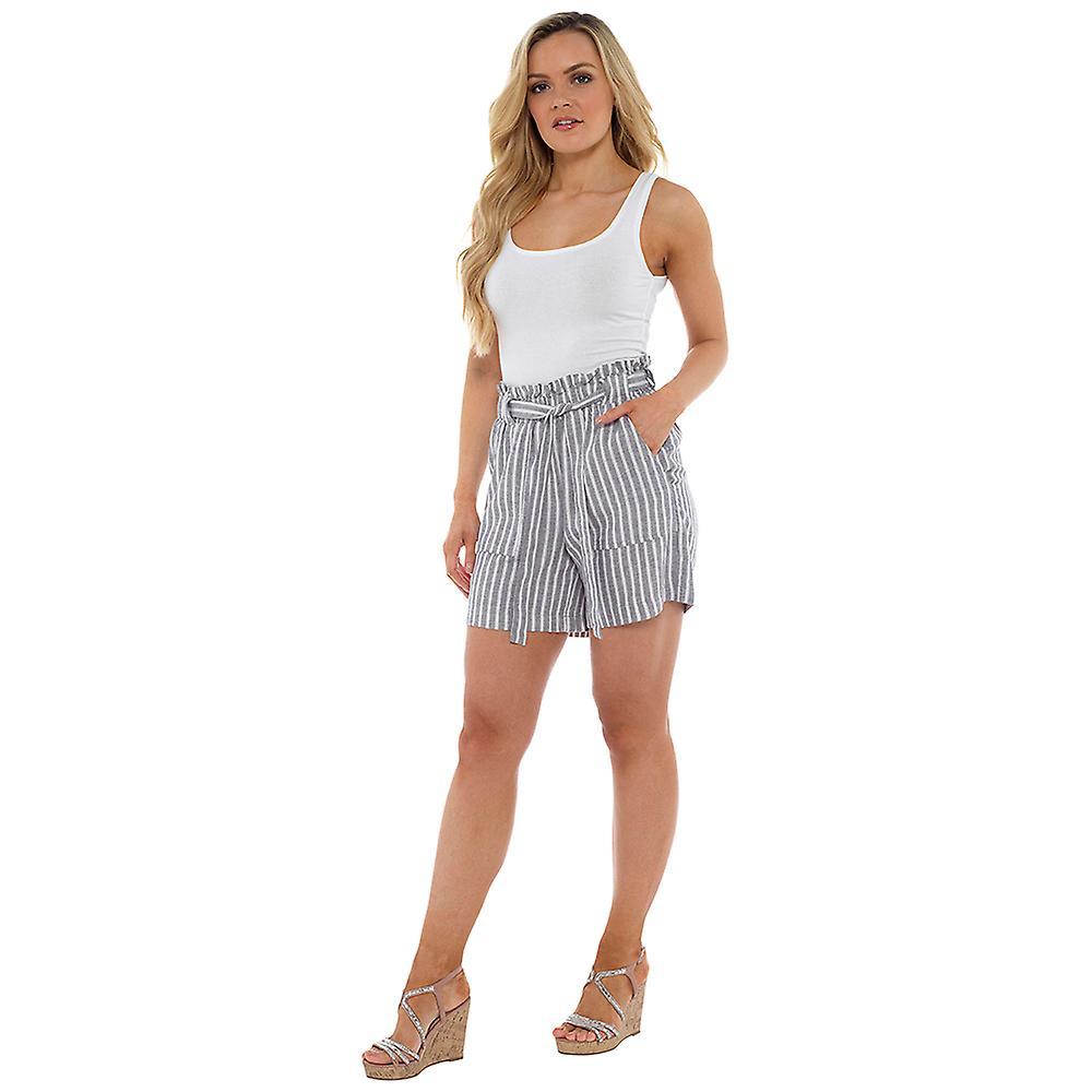 Indigo Roc Womens/Ladies Stripe Paperbag Waist Shorts kcvec0