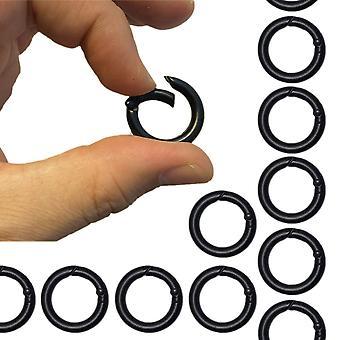 5-Pack Carabiner Round Keychain Black