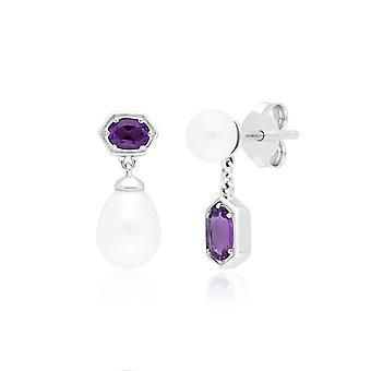 Modern Pearl & Amethyst Drop Earrings in 925 Sterling Silver 270E028301925