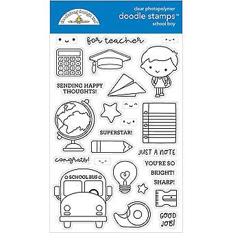 Doodlebug Clear Doodle Stamps-School Boy, School Days