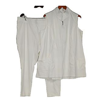 Denim & Co. Petite Set Active French Terry Tunic & Leggings White A286792