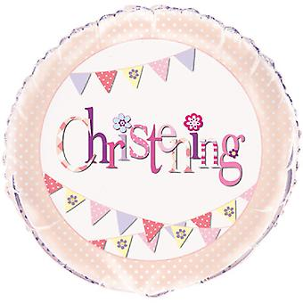 Unique Party Bunting Christening 18 Inch Foil Balloon