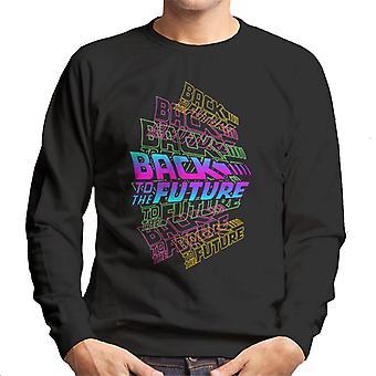 Back To The Future Blue Pink Layered Logo Men's Sweatshirt