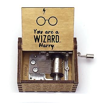 Harry Potter Collectibles - You're A Wizard Harry! Hand Crank Wooden Music Box