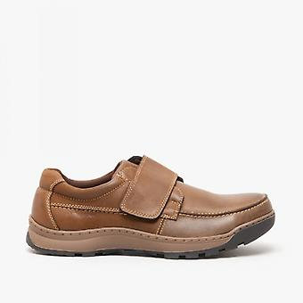 Hush Chiots Casper Mens Leather Touch Fasten Shoes Brown