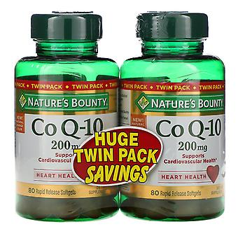 Nature's Bounty, Co Q-10, Twin Pack, 200 mg, 80 Rapid Release Softgels Each
