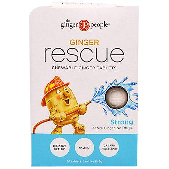 The Ginger People, Ginger Rescue, Chewable Ginger Tablets, Strong, 24 Tablets (1